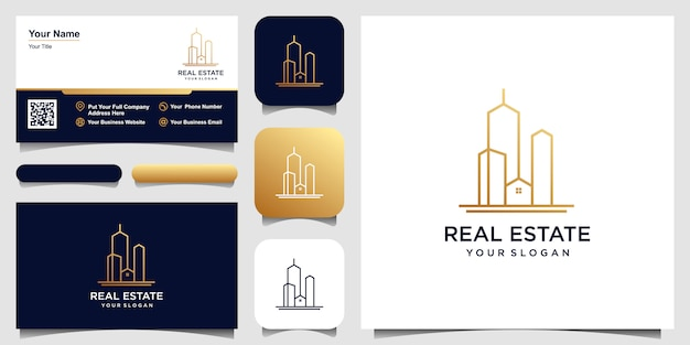 Building logo design in line art.  logo design and business card set