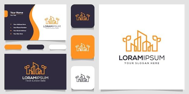 Building logo design in line art. logo design and business card