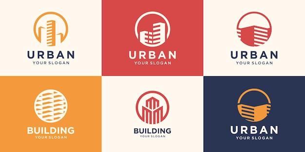 Шаблон дизайна логотипа здания