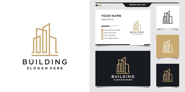 Building logo design with business card template.