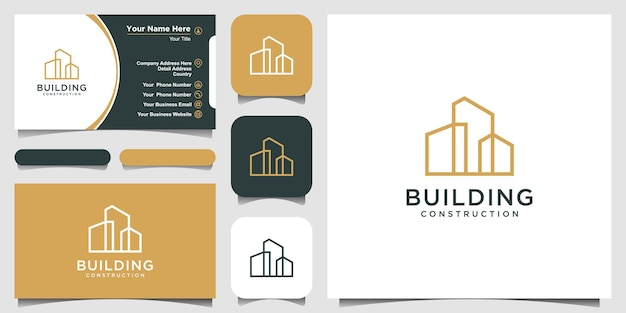 Building logo design with line art style city building abstract for logo design inspiration