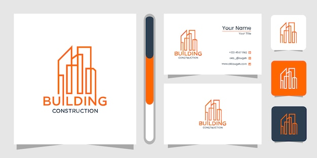 Building logo design with line concept. city building abstract for logo design inspiration. logo design and business card