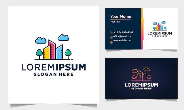 ラインのコンセプトを持つ建物のロゴデザイン。ロゴデザインのインスピレーションのための色の建物の要約。