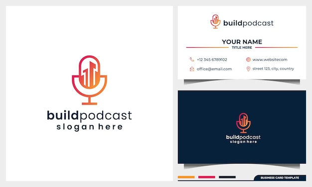 Building logo design with microphone podcast concept and business card template
