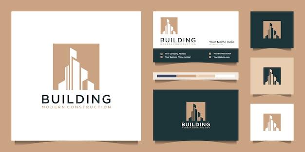 モダンなコンセプトのロゴデザインを構築。ロゴデザインのインスピレーションのための都市の建物建設概要。ロゴデザインと名刺