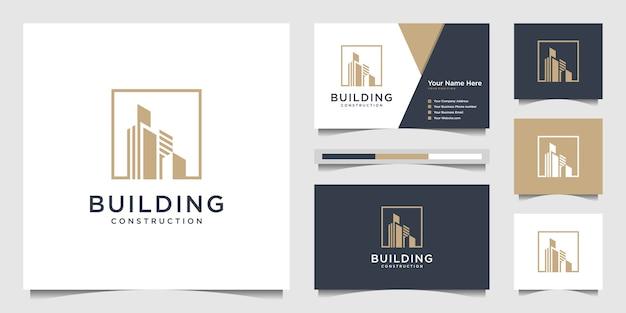 Создание логотипа с современной концепцией. аннотация строительства города для вдохновения дизайна логотипа. дизайн логотипа и визитки