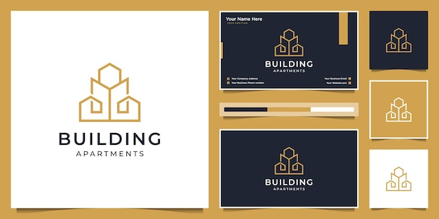 Building logo design with modern concept.  logo design and business card