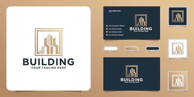 Building logo design with square frame and business card inspiration