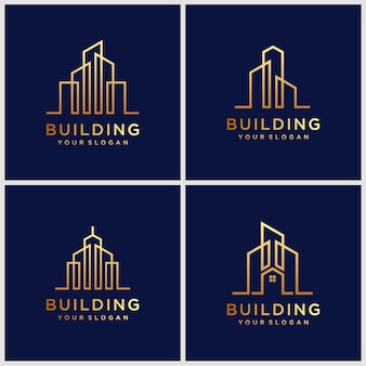 Building logo designs. construction logo design with line art style.