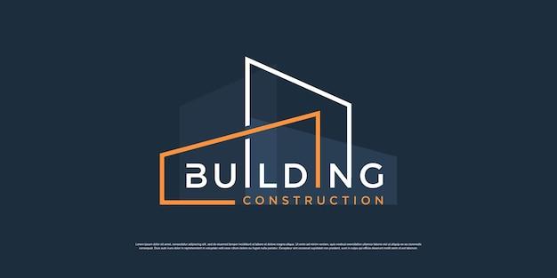 現代的なコンセプトのプレミアムベクトルで印刷する建設会社の建物のロゴ