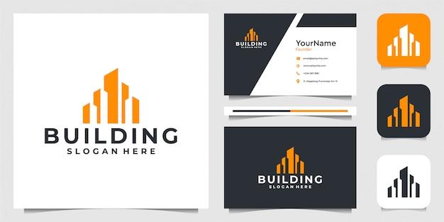 건물 로고. 건축, 모양, 레이아웃, 비즈니스, 광고, 부동산 및 명함에 적합