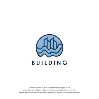 建物のロゴグラフィックデザインテンプレート
