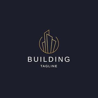 Building logo icon design template flat vector