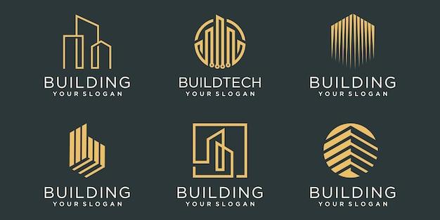 建物のロゴアイコンを設定します。ロゴデザインのインスピレーションのための都市の建物の要約。