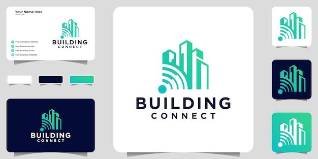 建物のロゴのインスピレーションとwifi接続アイコンと名刺のデザイン