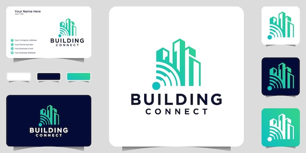 Building logo inspiration and wifi connection icon and business card design