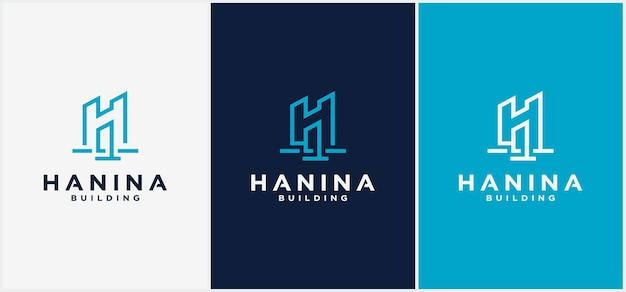 Building logo letter h line. can be used for business logos, architecture, real estate, construction, buildings, apartments vector logo design templates