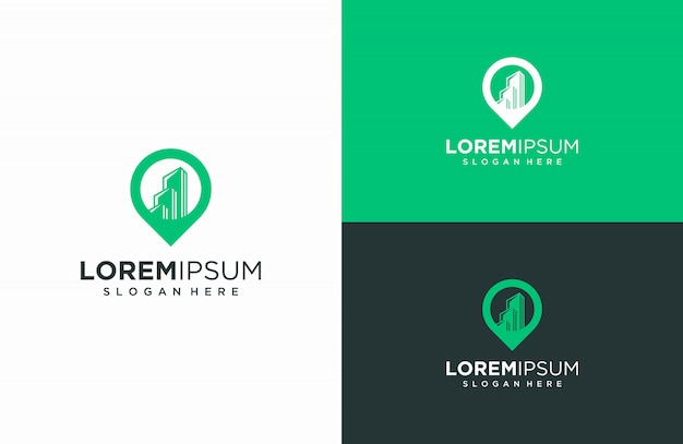 Building and logo maps, vector illustrations of buildings and map combinations