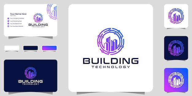 Building logo and technology circle data design template and business card