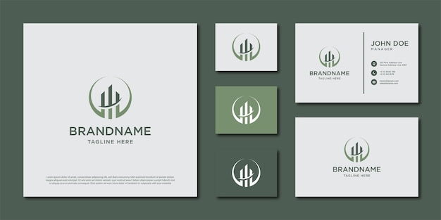 Шаблон логотипа здания. дизайн логотипа и набор визиток