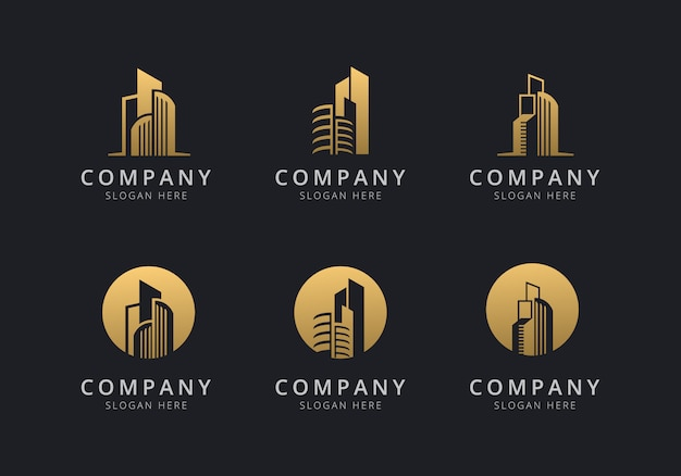 Building logo template with golden style color for the company