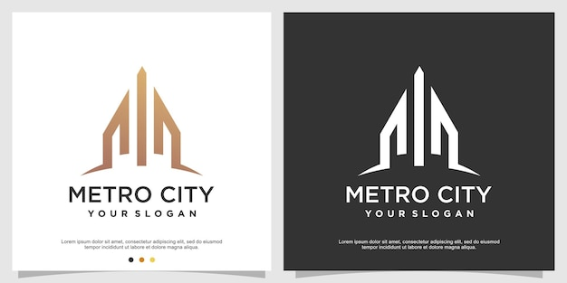 Building logo template with modern concept premium vector
