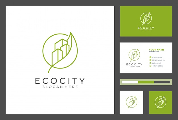 Building logo with business card design premium vector. logos can be used for realestae, contractor, architecture, consulting, investment.