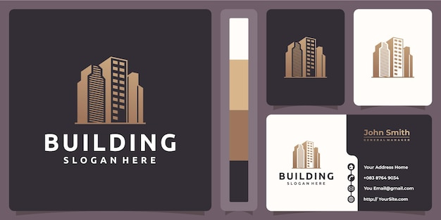 Building logo with business card template