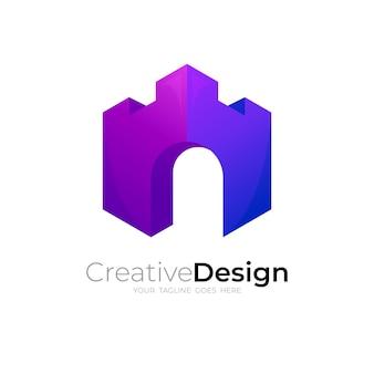 城のアイコンテンプレートでロゴを構築する