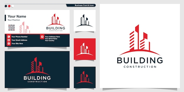 Building logo with cool modern style and business card design template
