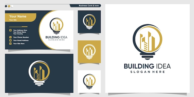 Building logo with creative idea style and business card design template, smart, city, template,