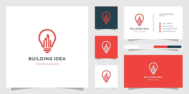Building logo with creative idea style and business card design template, smart, city, template