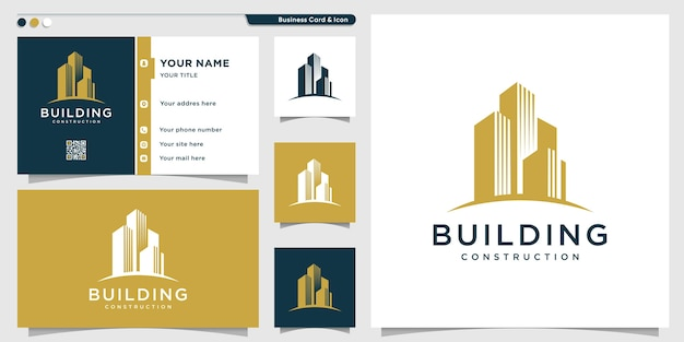 Building logo with creative look and business card design template