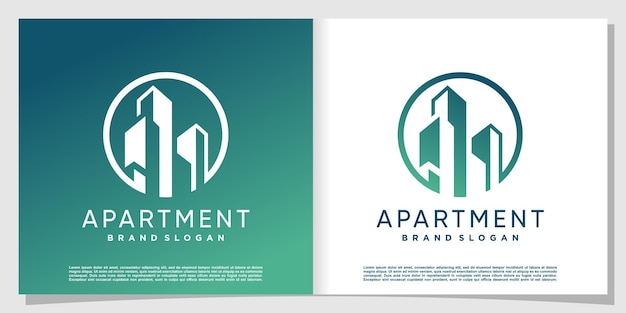 창의적이고 현대적인 스타일로 건물 로고 premium vector