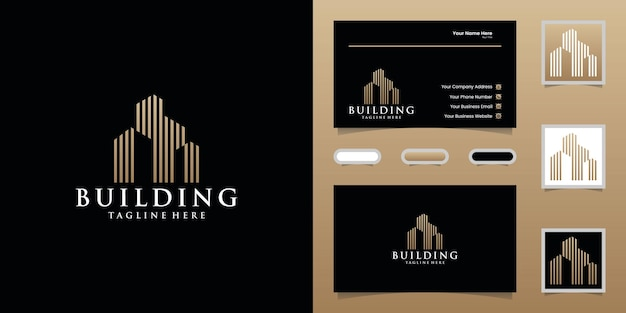 Building logo with gold color design template and business card