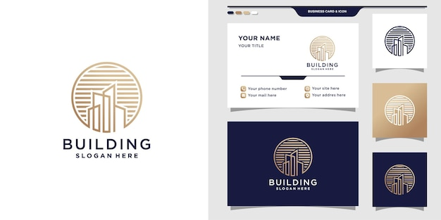 Building logo with line art style and business card design