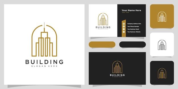 ラインアートスタイルの建物のロゴ。ロゴデザインのインスピレーションと名刺デザインのための都市の建物の要約