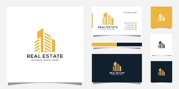 라인 아트 스타일로 건물 로고. 로고 디자인 영감과 명함 디자인을위한 도시 건물 개요