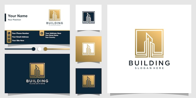 Building logo with modern golden minimalist concept and business card Premium Vector