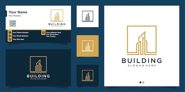 Building logo with modern line art style and business card design template