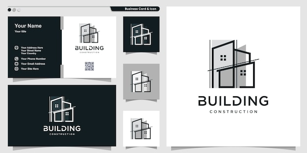 Building logo with unique line art style and business card design