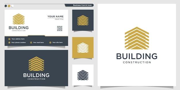 회사 및 명함 디자인 서식 파일을 위한 고유한 스타일의 건물 로고 premium vector