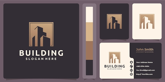 Building luxury gold logo with business card template