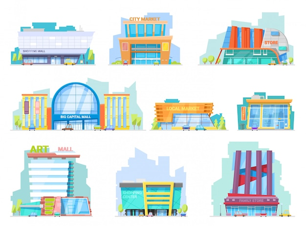 Building mall  storefront of newbuild mall and store facade illustration set of shopping officebuilding of cityscape and architectural