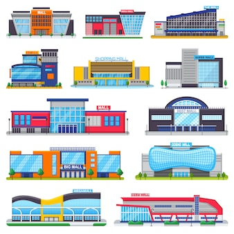 Building mall vector storefront of newbuild mall and store facade illustration