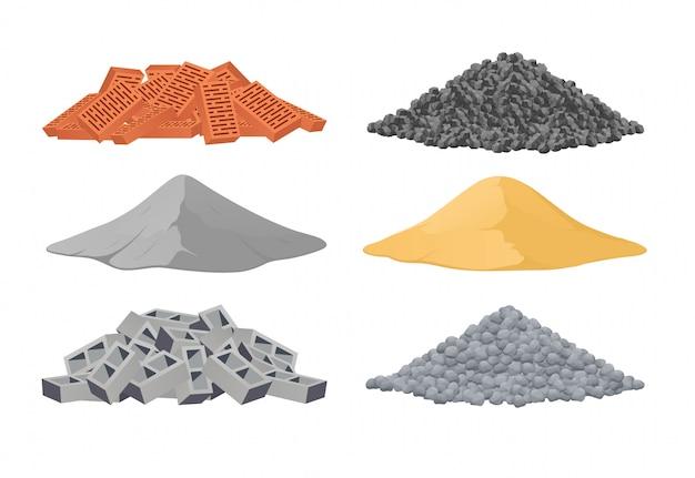 Строительные материалы, куча кирпичей, цемент, песок, шлакоблоки, камни на белом фоне. векторная иллюстрация