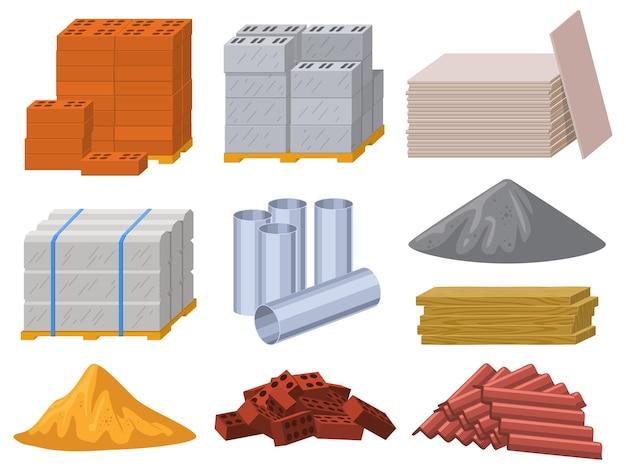 Строительные материалы. набор иллюстраций строительных кирпичей, цемента, деревянных досок и металлических труб