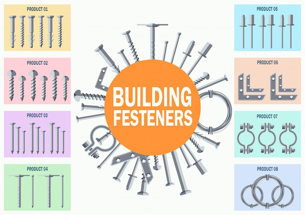 Building metal fasteners flat vector collection