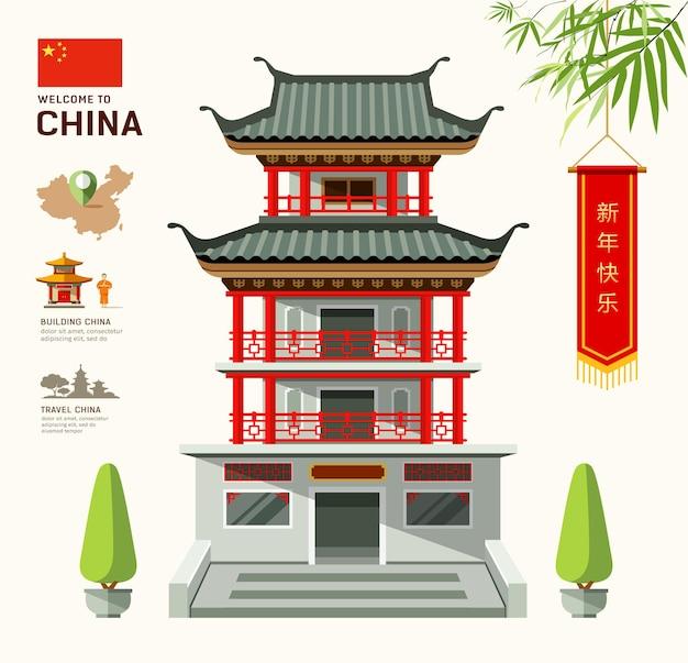 Здание китайского туристического дизайна
