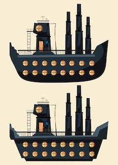 船の建物設定ベクトル図